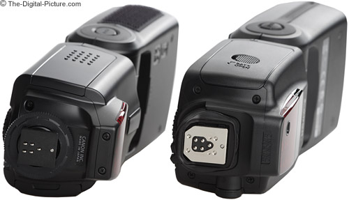 Canon Speedlite 580EX II Flash new bottom compared to old.