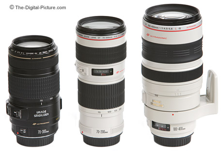 Canon Telephoto Zoom Lenses Size Comparison - Retracted