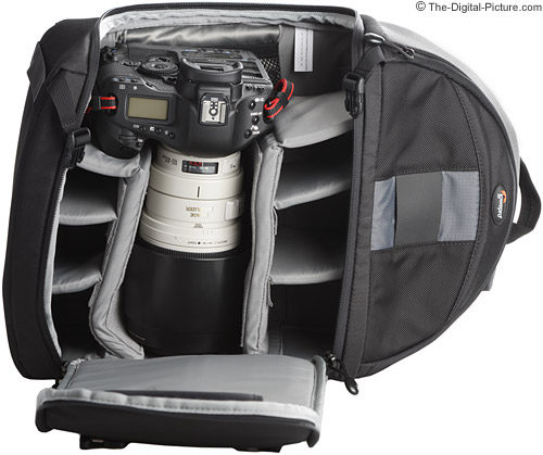 Lowepro Slingshot 300 AW with Largest Camera and Lens