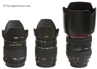 Canon, Sigma and Tamron Normal Zoom Lenses Size Comparison - With Hoods