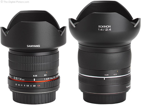 Rokinon SP 14mm f/2.4 Lens compared to Samyang 14mm f/2.8 IF ED UMC Lens