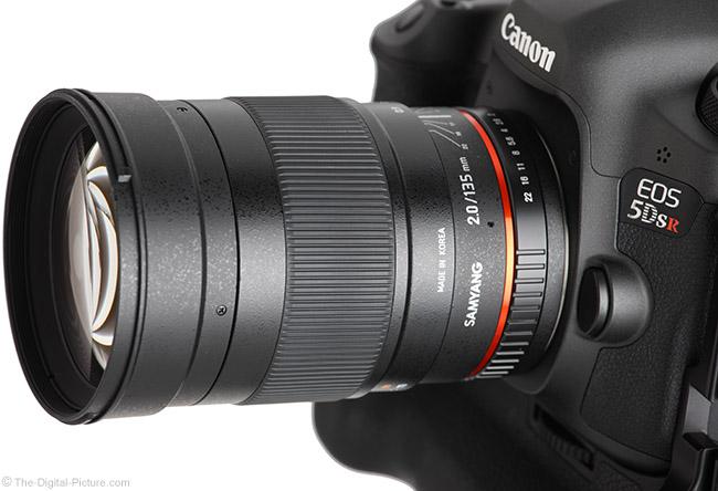 Samyang 135mm f/2 ED UMC Lens Angle Close-Up View