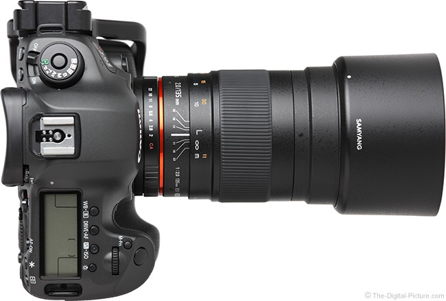 Samyang 135mm f/2 ED UMC Lens Top View with Hood