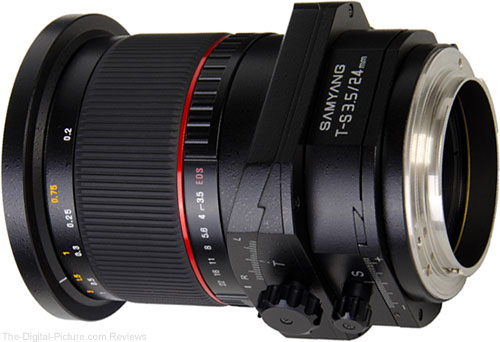 Samyang 24mm f/3.5 Tilt-Shift Lens Rear Angle View