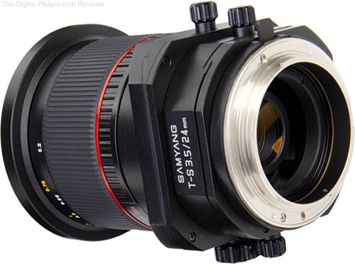 Samyang 24mm f/3.5 Tilt-Shift Lens from Rear Angle Showing 4 Knobs