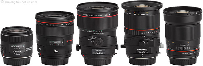Samyang 24mm f/3.5 Tilt-Shift Lens Compared to Other 24mm Lenses