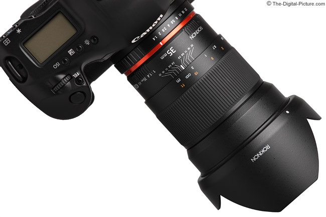 Samyang 35mm f/1.4 US UMC Lens from Top - Angled with Hood