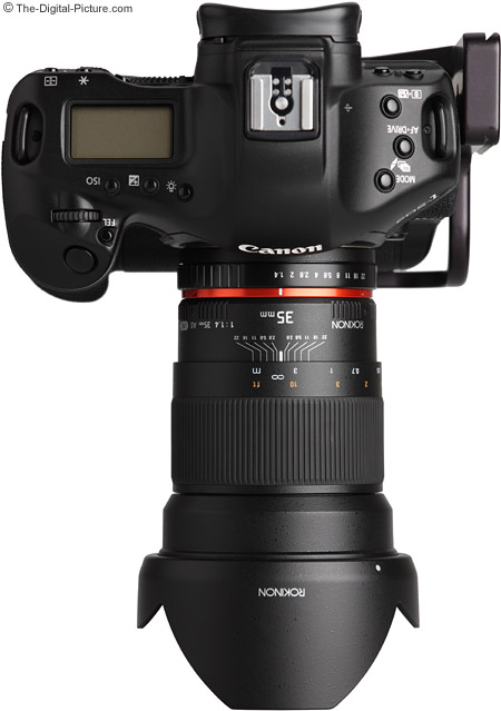 Samyang 35mm f/1.4 US UMC Lens from Top with Hood