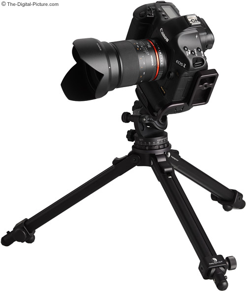 Samyang 35mm f/1.4 US UMC Lens on Canon EOS 1Ds Mark III DSLR on Tripod with Hood