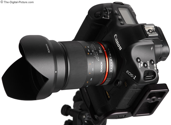 Samyang 35mm f/1.4 US UMC Lens Angled with Hood