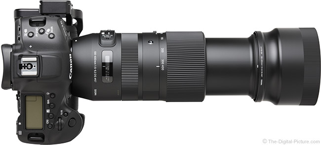 Sigma 100-400mm f/5-6.3 DG OS HSM C Lens Extended Top View with Hood