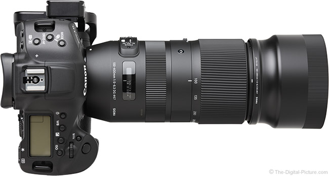 Sigma 100-400mm f/5-6.3 DG OS HSM C Lens Top View with Hood