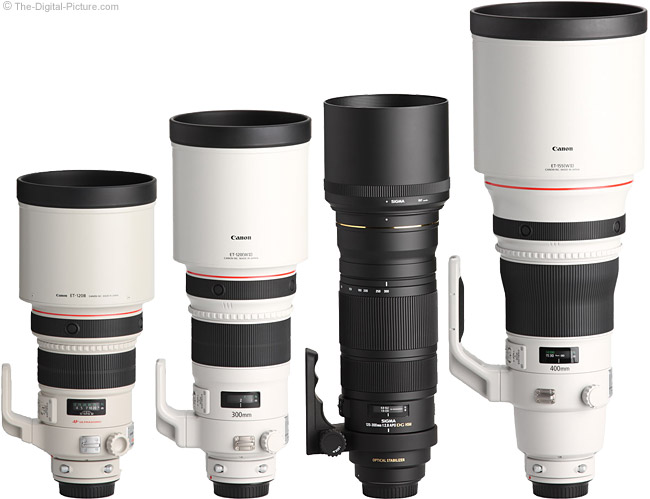Sigma 120-300mm f/2.8 EX DG OS HSM Lens Compared to Similar Lenses with Hoods