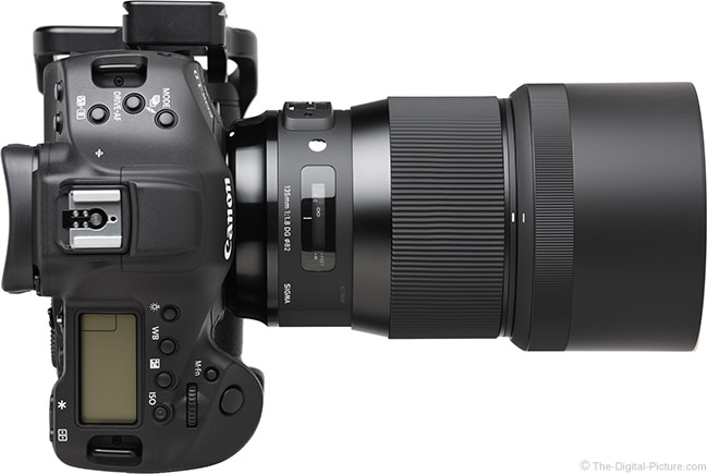 Sigma 135mm f/1.8 DG HSM Art Lens Top View with Hood