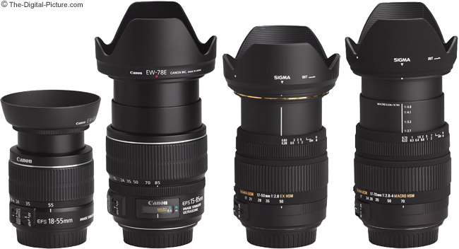 Sigma 17-70mm f/2.8-4 DC Macro OS Lens Compared to Similar Lenses with Hoods