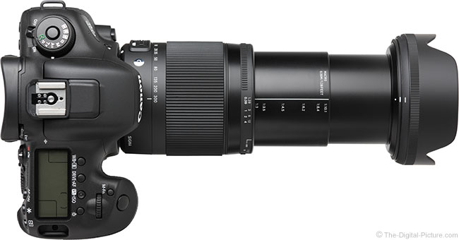 Sigma 18-300mm f/3.5-6.3 DC OS HSM Contemporary Lens – Top View with Hood Extended