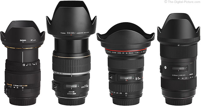 Sigma 18-35mm f/1.8 DC HSM Art Lens Compared to Similar Lenses with Hoods