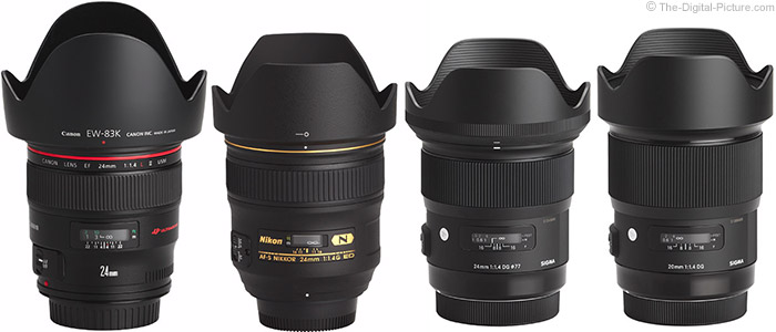Sigma 20mm f/1.4 DG HSM Art Lens Compared to Similar Lenses with Hoods