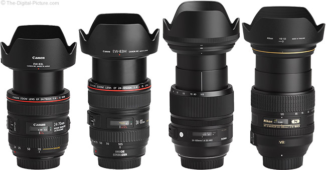 Sigma 24-105mm f/4.0 DG OS HSM Art Lens Compared to Similar Lenses with Hoods