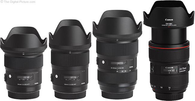 Sigma 24-35mm f/2 DG HSM Art Lens Compared to Similar Lenses with Hoods
