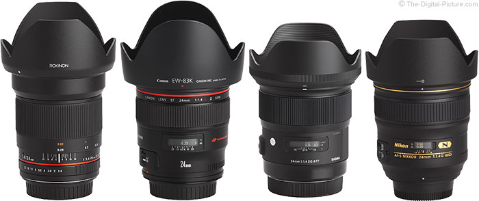 Sigma 24mm f/1.4 DG HSM Art Lens Compared to Similar Lenses with Hoods