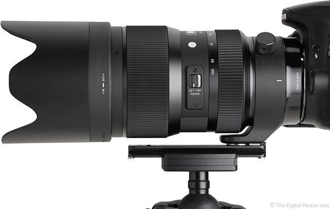 Sigma 50-100mm f/1.8 DC HSM Art Lens Side View with Hood