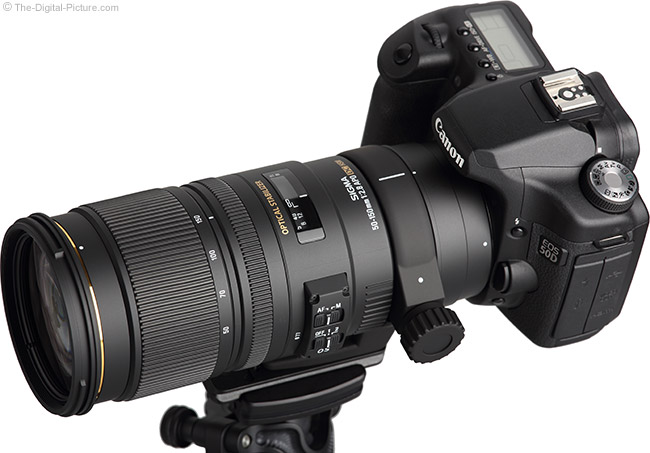 Sigma 50-150mm f/2.8 EX DC OS HSM Lens - Angled Top View with Hood