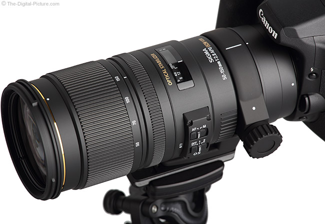 Sigma 50-150mm f/2.8 EX DC OS HSM Lens - Angled Top View