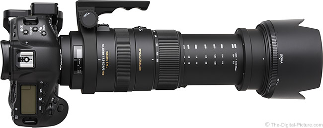 Sigma 50-500mm f/4.5-6.3 DG OS HSM Lens Top View with Hood