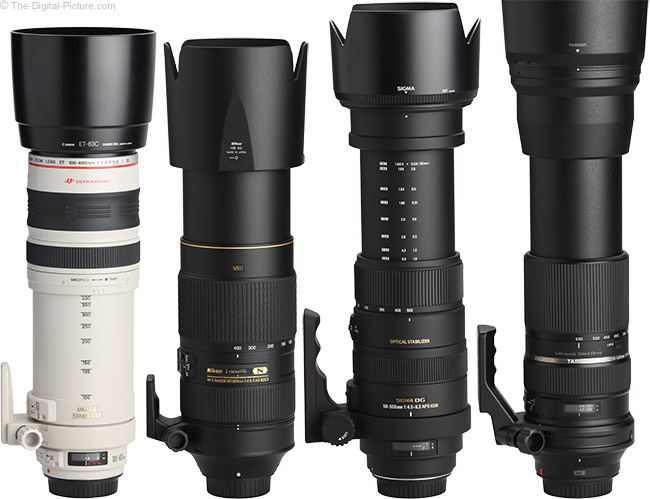 Sigma 50-500mm f/4.5-6.3 DG OS HSM Lens Compared to Similar Lenses with Hoods