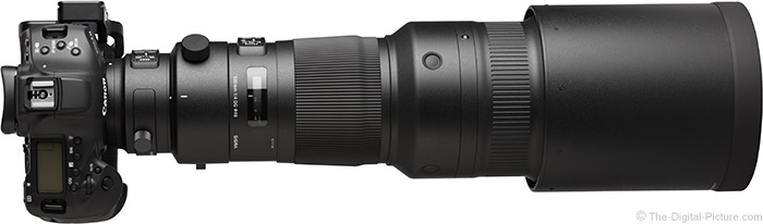 Sigma 500mm f/4 DG OS HSM Sports Lens Top View with Hood