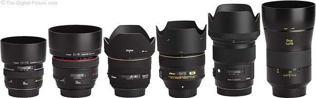 Sigma 50mm f/1.4 DG HSM Art Lens Compared to Similar Lenses with Hoods