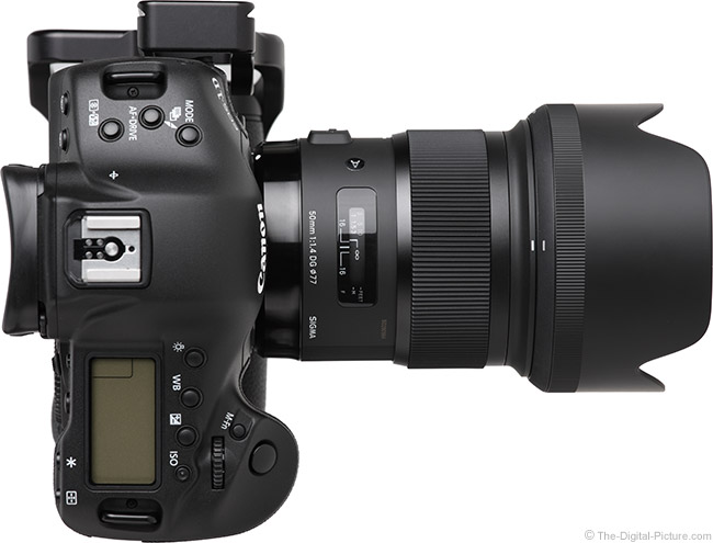 Sigma 50mm f/1.4 DG HSM Art Lens on Canon EOS-1D X – Top View with Hood