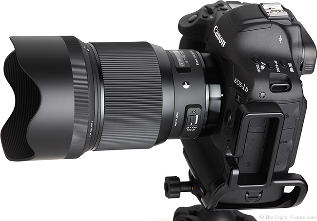 Sigma 85mm f/1.4 DG HSM Art Lens Angle View with Hood