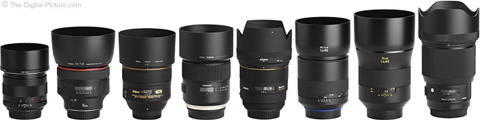 Sigma 85mm f/1.4 DG HSM Art Lens Compared to Similar Lenses with Hoods