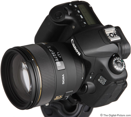 Sigma 85mm f/1.4 EX DG HSM Lens on Canon EOS 60D - Angle View