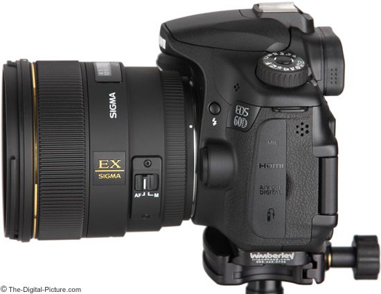 Sigma 85 f/1.4 on Canon EOS 60D - Side View