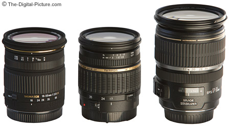 Sigma, Tamron and Canon Digital Camera Lenses Size Comparison