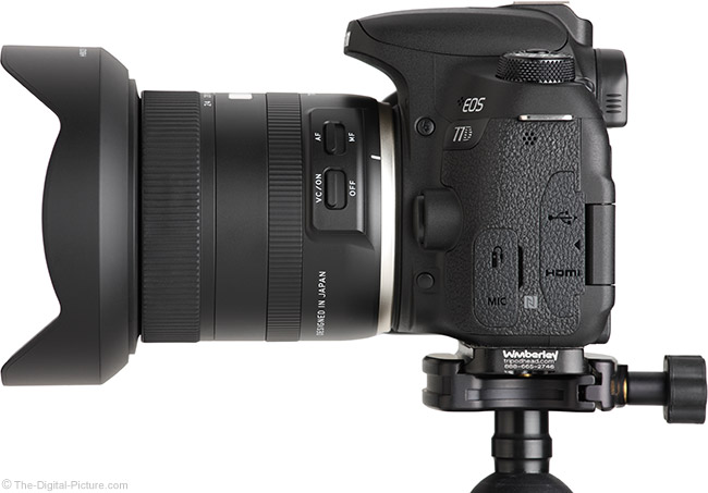 Tamron 10-24mm f/3.5-4.5 Di II VC HLD Lens Side View with Hood
