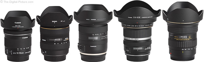 Tamron 10-24mm f/3.5-4.5 Di II VC HLD Lens Compared to Similar Lenses with Hoods