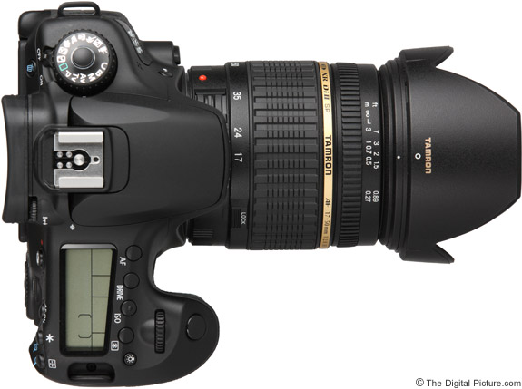 Tamron 17-50mm f/2.8 XR Di II Lens on Canon EOS 60D - Top View with Hood