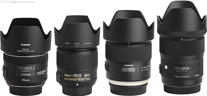 Tamron 35mm f/1.8 Di VC USD Lens Compared to Similar Lenses with Hoods