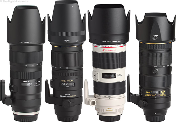 Tamron 70-200mm f/2.8 Di VC USD G2 Lens Compared to Similar Lenses with Hoods