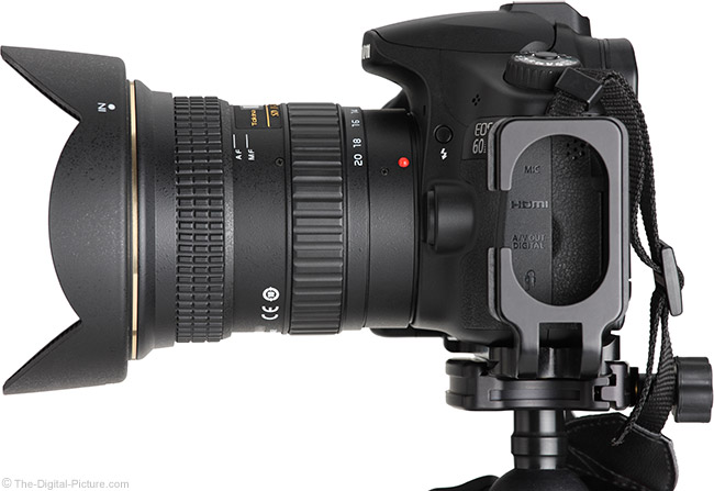 Tokina 11-20mm f/2.8 AT-X Pro DX Lens Side View with Hood