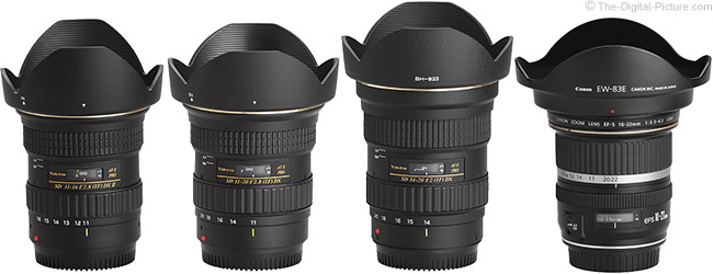 Tokina 14-20mm f/2 AT-X Pro DX Lens Compared to Similar Lenses with Hoods