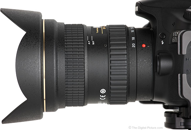 Tokina 14-20mm f/2 AT-X Pro DX Lens Side View with Hood