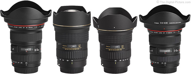Tokina 16-28mm f/2.8 AT-X Pro FX Lens Compared to Similar Lenses with Hoods
