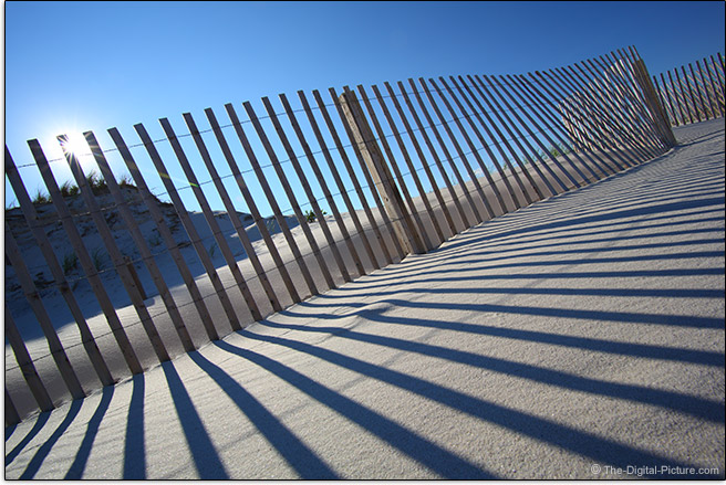 Tokina 17-35mm f/4 AT-X Pro FX Lens Sand Fence Shadows Sample Picture