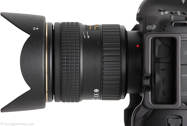 Tokina 24-70mm f/2.8 AT-X Pro FX Lens Side View with Hood