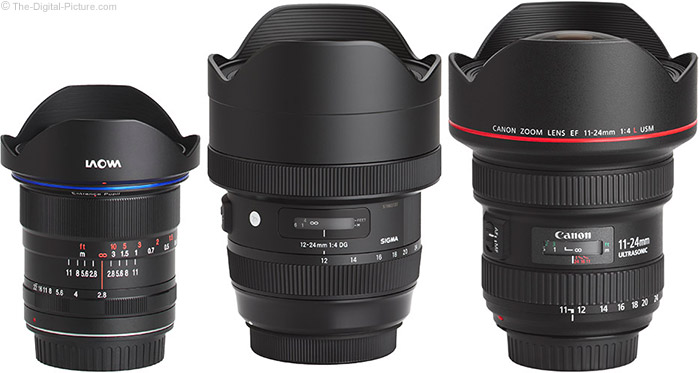 Venus Optics Laowa 12mm f/2.8 Zero-D Lens Compared to 12mm-Capable Lenses with Hoods